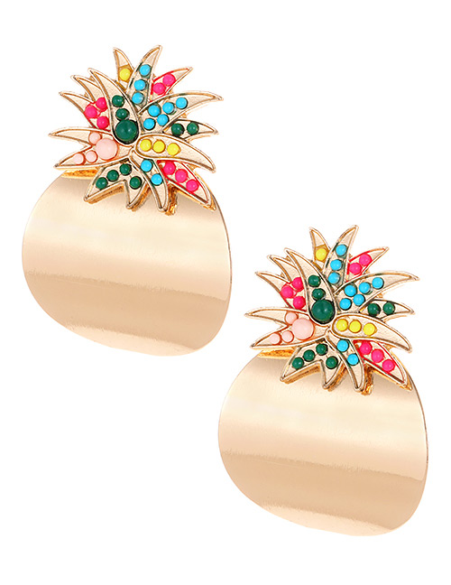 Fashion Gold Color Irregular Shape Decorated Earrings