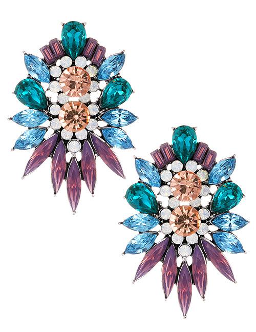 Fashion Purple Geometric Shape Decorated Earrings