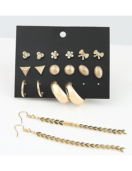 Fashion Gold Color Pure Color Decorated Earrings Sets(9 Pairs)