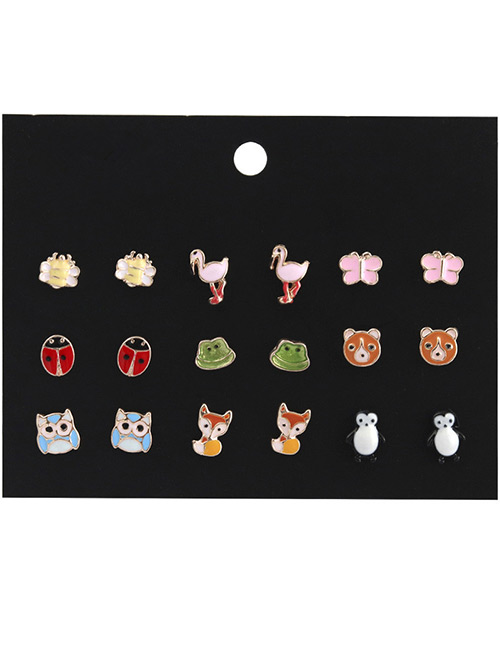 Fashion Multi-color Animal Shape Decorated Earrings Sets(9 Pairs)