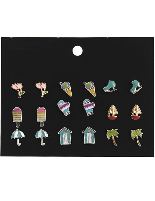 Fashion Multi-color Ice Cream Shape Decorated Earrings Sets(9 Pairs)