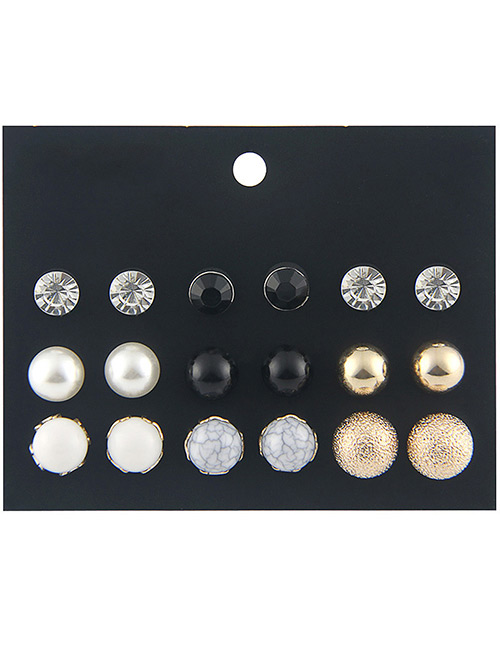 Fashion Multi-color Round Shape Decorated Earrings Sets(9 Pairs)