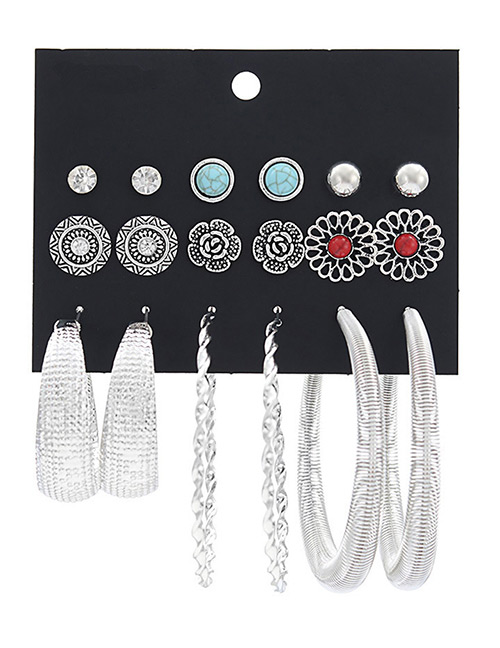 Fashion Silver Color Flower Shape Decorated Earrings Sets(9 Pairs)