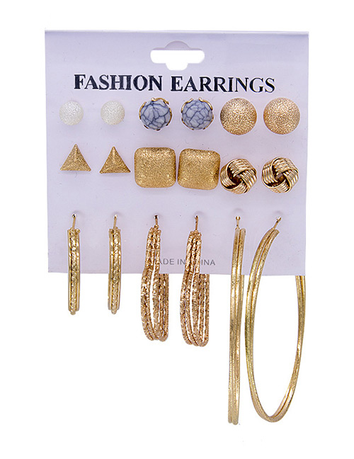 Fashion Gold Color Geometric Shape Decorated Earrings Sets(9 Pairs)