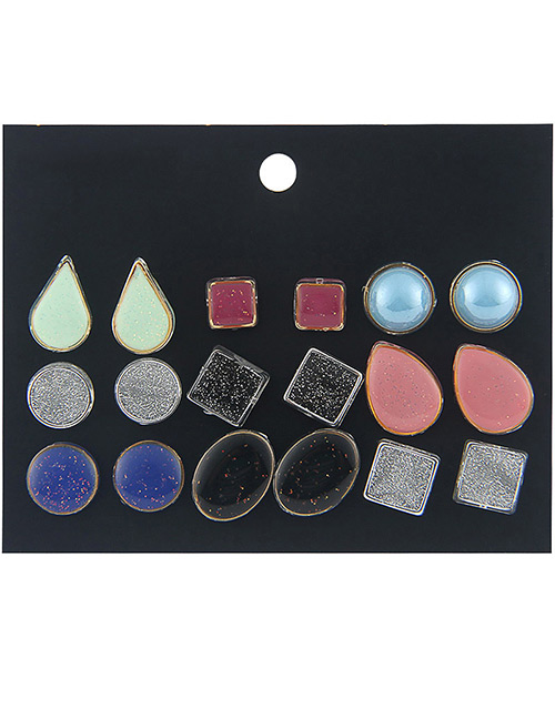 Fashion Multi-color Geometric Shape Decorated Earrings Sets(9 Pairs)