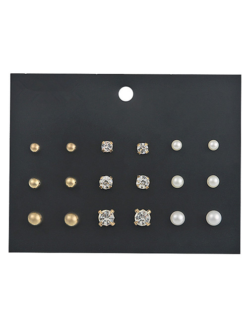 Fashion Gold Color Round Shape Decorated Earrings Sets(9 Pairs)