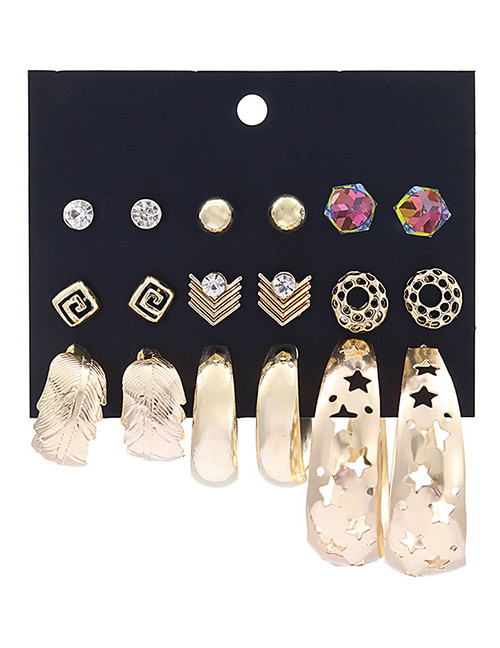 Fashion Gold Color Hollow Out Design Earrings Sets(9 Pairs)