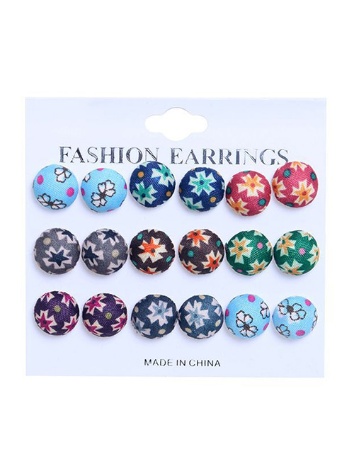 Fashion Multi-color Flower Pattern Decorated Earrings Sets(9 Pairs)