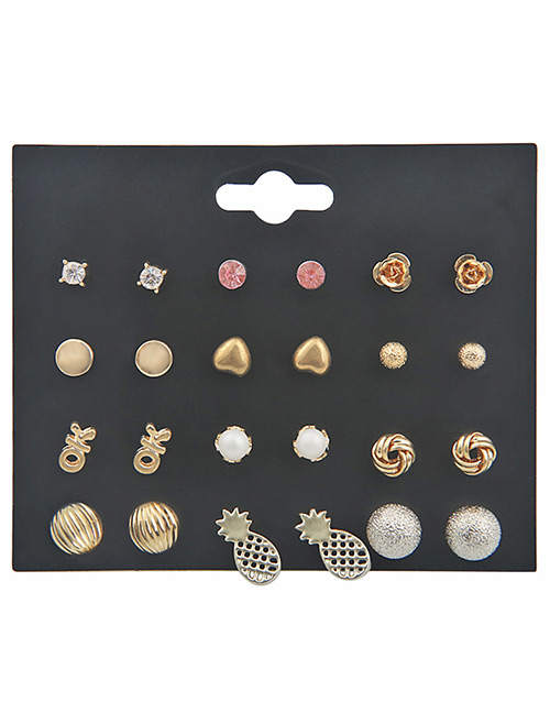 Fashion Gold Color Hollow Out Design Earrings Sets(12 Pairs)
