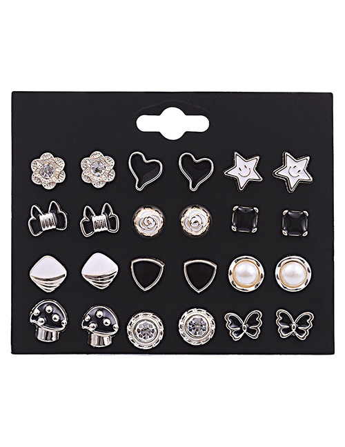 Fashion Silver Color Geometric Shape Decorated Earrings Sets(12 Pairs)