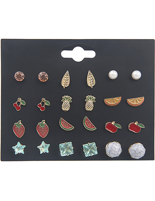 Fashion Multi-color Fruit Shape Decorated Earrings Sets(12 Pairs)