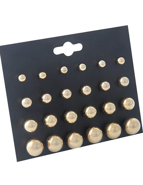 Fashion Gold Color Pure Color Decorated Earrings Sets(12 Pairs)