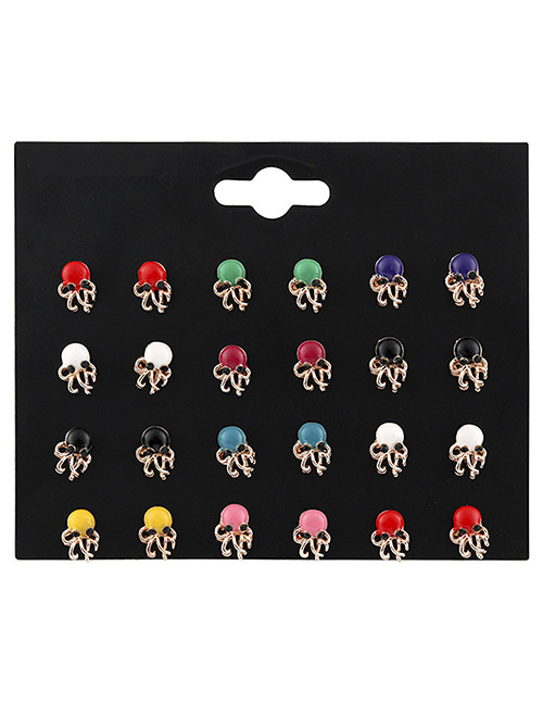 Fashion Multi-color Octopus Shape Decorated Earrings Sets(12 Pairs)