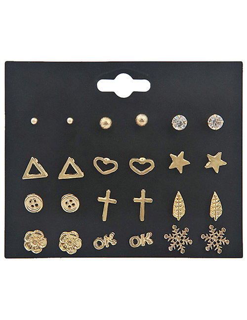Fashion Gold Color Geometric Shape Decorated Earrings Sets(12 Pairs)