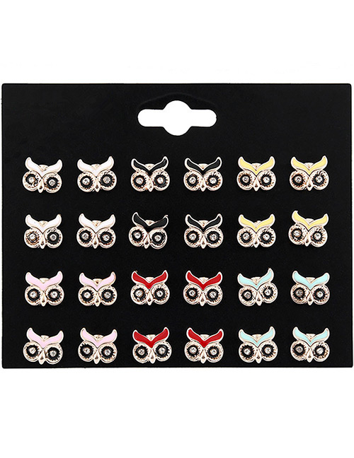 Fashion Multi-color Owl Shape Decorated Earrings Sets(12 Pairs)