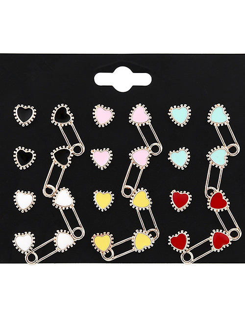 Fashion Multi-color Heart Shape Decorated Earrings Sets(12 Pairs)