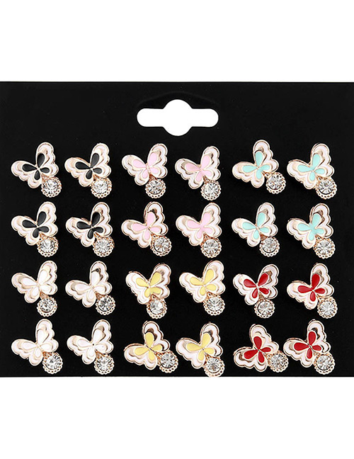 Fashion Multi-color Butterfly Shape Decorated Earrings Sets(12 Pairs)