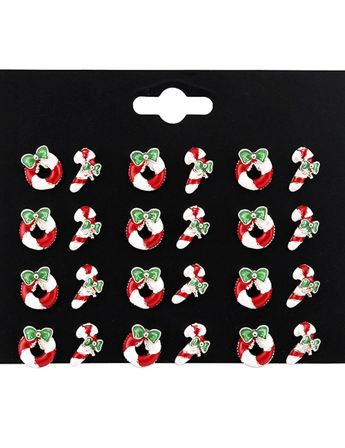 Fashion Red Santa Claus Shape Decorated Earrings Sets(12 Pairs)