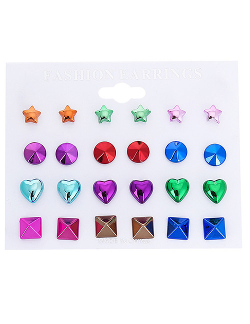 Fashion Multi-color Geometric Shape Decorated Earrings Sets(12 Pairs)