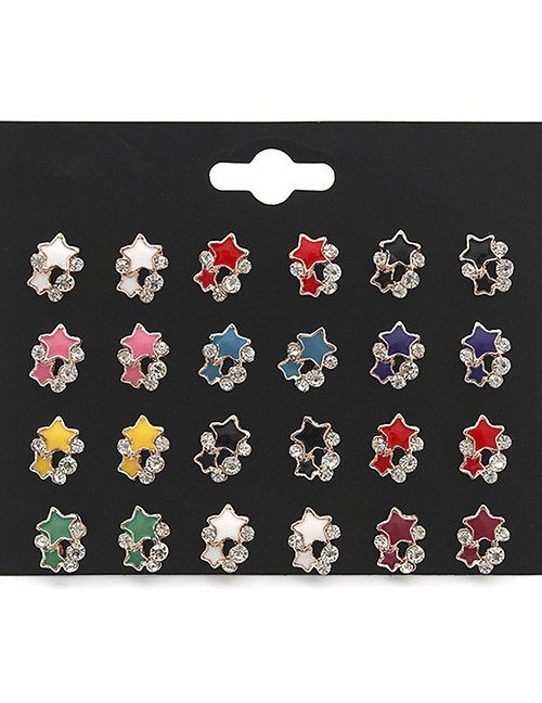 Fashion Multi-color Star Shape Decorated Earrings Sets(12 Pairs)