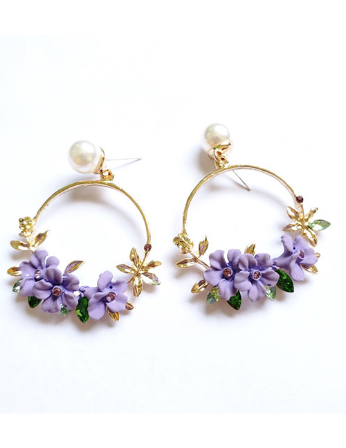 Fashion Purple Flower Shape Decorated Round Earrings