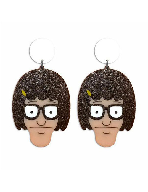 Fashion Brown Face Shape Decorated Earrings
