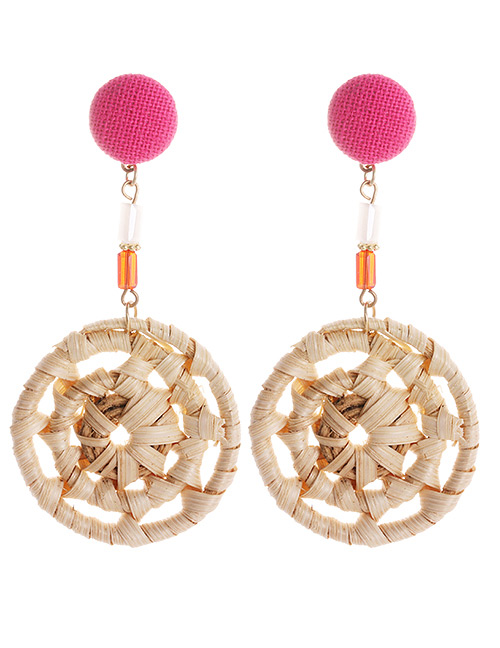 Fashion Plum Red Round Shape Decorated Pom Ball Earrings