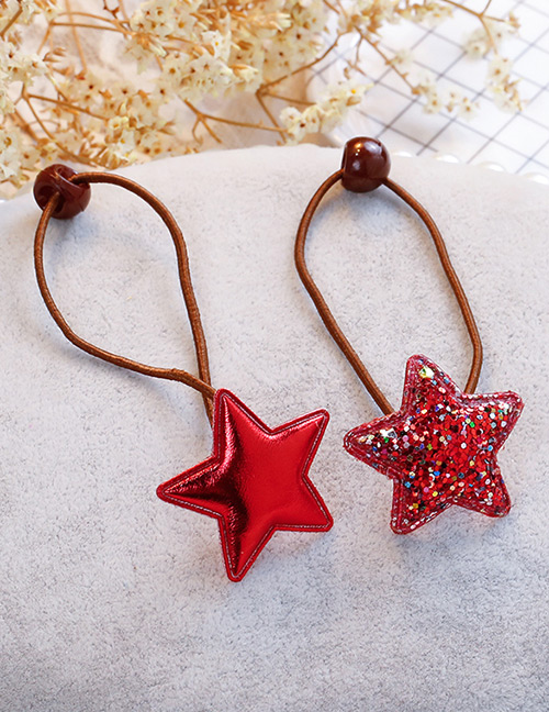 Fashion Red Star Shape Decorated Hair Band (2 Pcs)