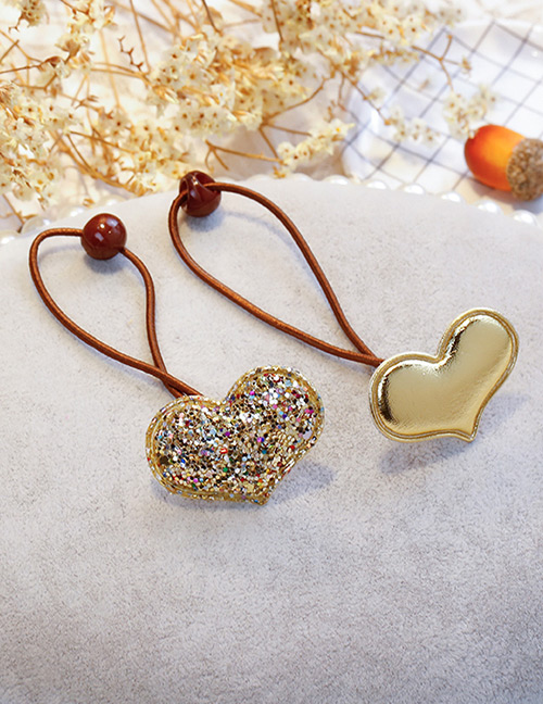 Fashion Gold Color Heart Shape Decorated Hair Band (2 Pcs)