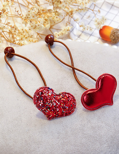 Fashion Red Heart Shape Decorated Hair Band (2 Pcs)