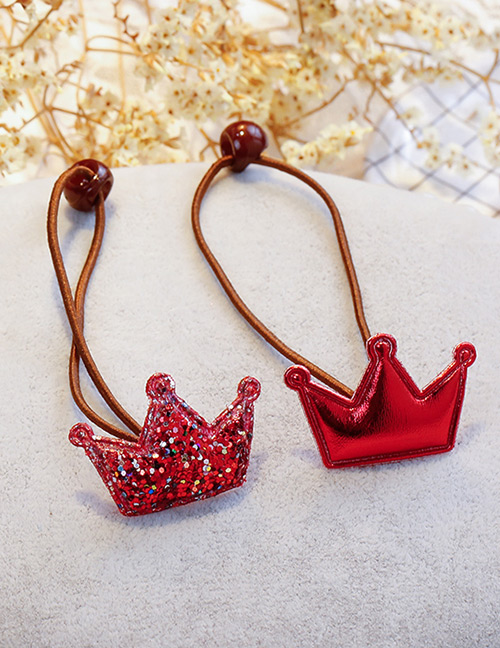 Fashion Red Crown Shape Decorated Hair Band (2 Pcs )