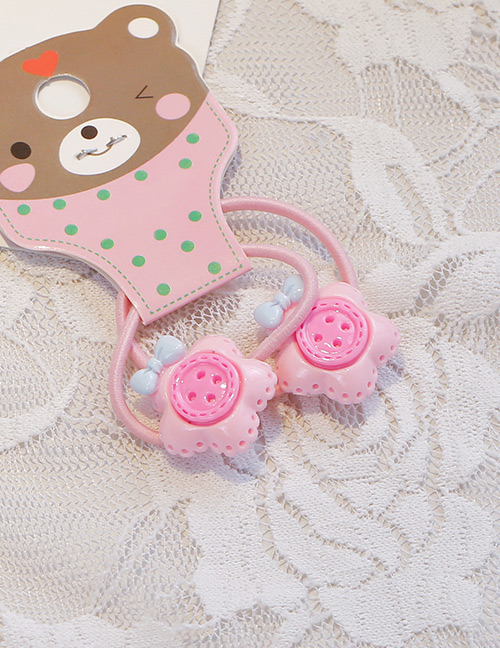 Fashion Light Pink Button Shape Decorated Hair Band (2 Pcs)
