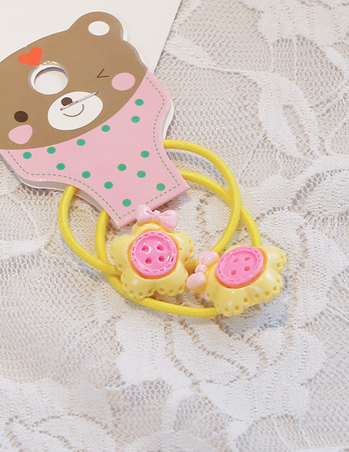 Fashion Yellow Button Shape Decorated Hair Band (2 Pcs)