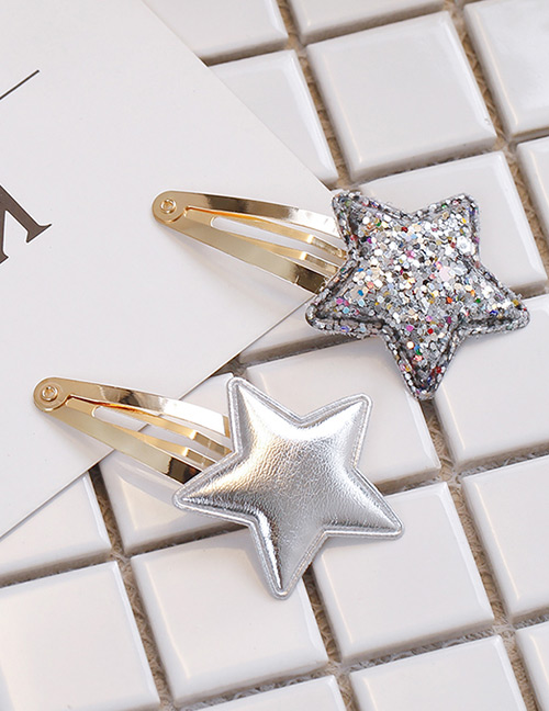 Simple Silver Color Star Shape Decorated Hair Clip (2 Pcs )