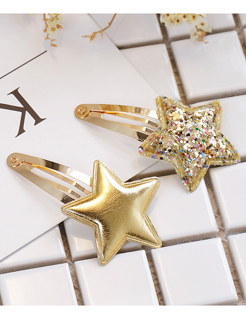 Simple Gold Color Star Shape Decorated Hair Clip (2 Pcs )