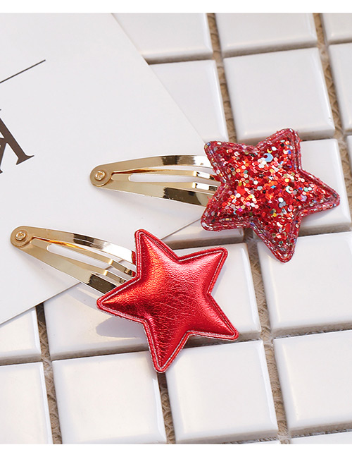 Simple Red Star Shape Decorated Hair Clip (2 Pcs )