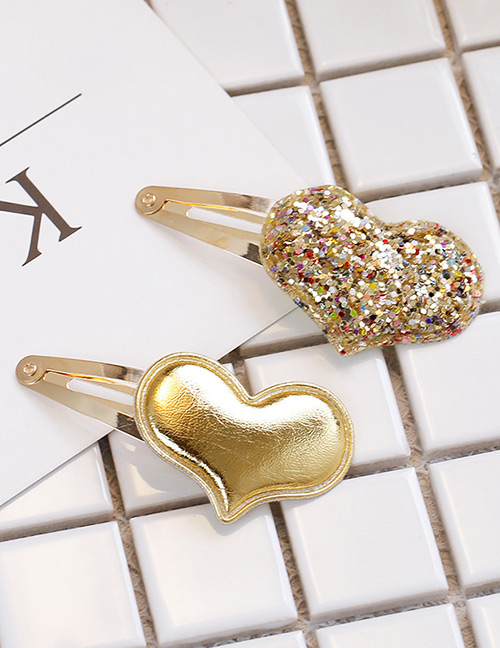 Simple Gold Color Heart Shape Decorated Hair Clip (2 Pcs )