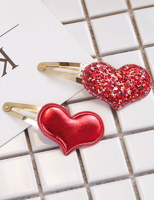 Simple Red Heart Shape Decorated Hair Clip (2 Pcs )