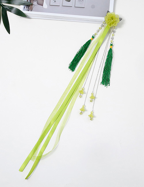 Simple Green Flower Shape Decorated Tassel Hair Clip