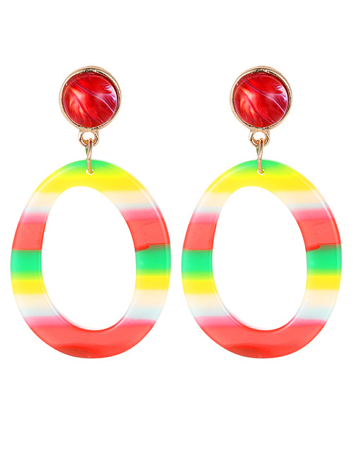 Fashion Red Circular Ring Shape Decorated Earrings