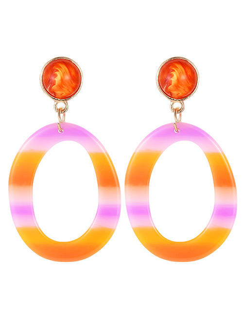 Fashion Orange Circular Ring Shape Decorated Earrings
