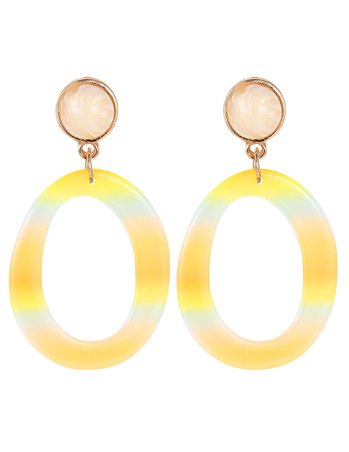 Fashion Beige Circular Ring Shape Decorated Earrings