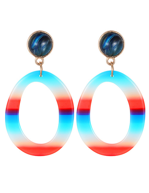 Fashion Navy Circular Ring Shape Decorated Earrings