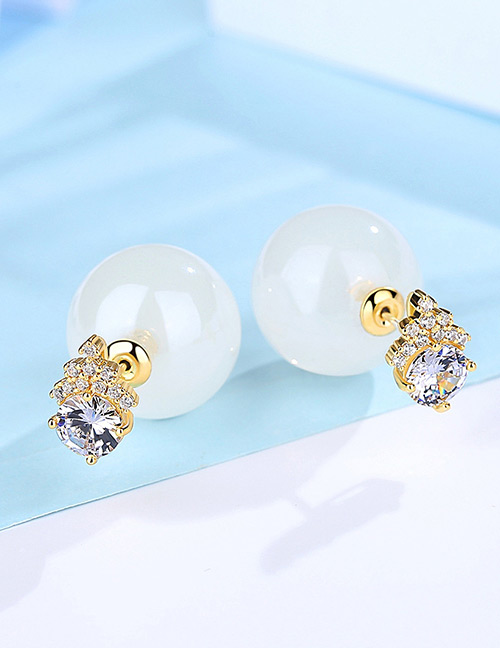 Fashion White+gold Color Ball Shape Decorated Earrings