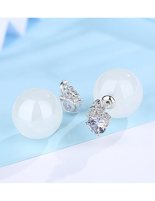Fashion Silver Color+white Ball Shape Decorated Earrings