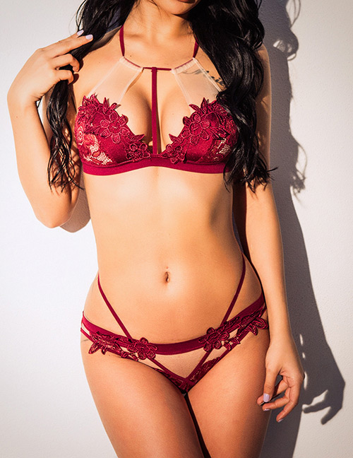 Sexy Red Flower Shape Decorated Hollow Out Underwear