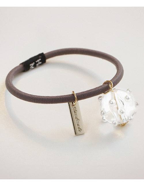 Simple Light Brown Pearl Decorated Hair Band