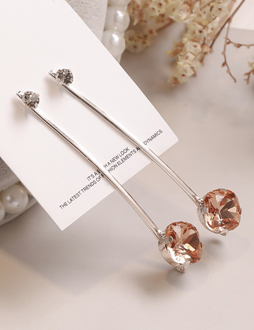 Fashion Champagne Square Shape Decorated Hair Clip
