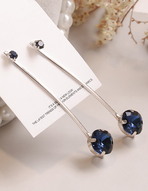 Fashion Blue Square Shape Decorated Hair Clip