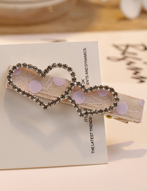 Fashion Purple Heart Shape Decorated Hair Clip
